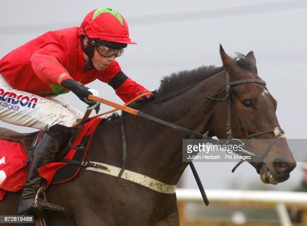 Harry Cobden and Kilbricken Storm pull away from the last flight to go on and win The EBF Stallions Novices Hurdle Race run during Badger Chase Day...