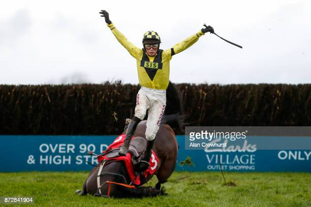 Harry Cobden falls from Valhalla at the last fence in The John Romans Park Homes âRising Starsâ Novicesâ Steeple Chase at Wincanton racecourse on...