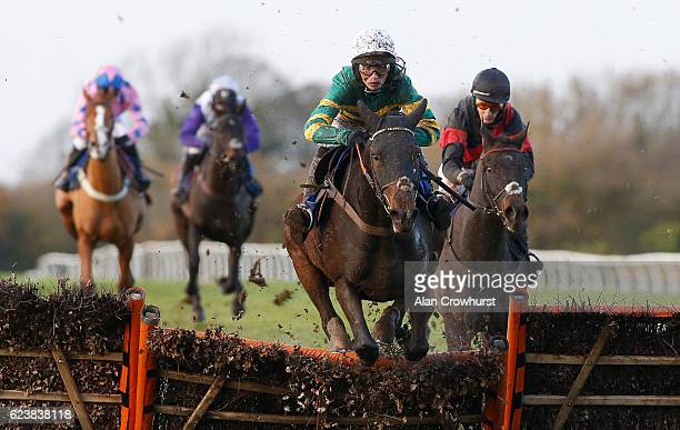 Harry Cobden riding Brelan D'As clear the last to win The Be Wiser Insurance Handicap Hurdle Race at Wincanton Racecourse on November 17 2016 in...