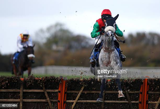 Harry Cobden riding Capitaine clear the last to win The EBF Stallions 'National Hunt' Novices' Hurdle Race at Wincanton Racecourse on November 5 2016...