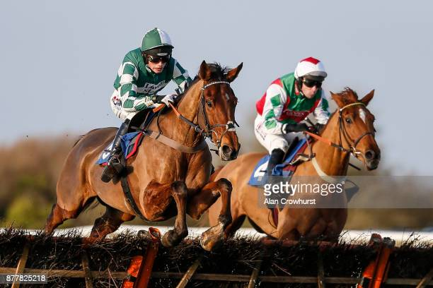 Harry Cobden riding Captain Cattistock clear th last to win The Lenny Roberts memorial Trophy Novicesâ Hurdle Race at Wincanton racecourse on...