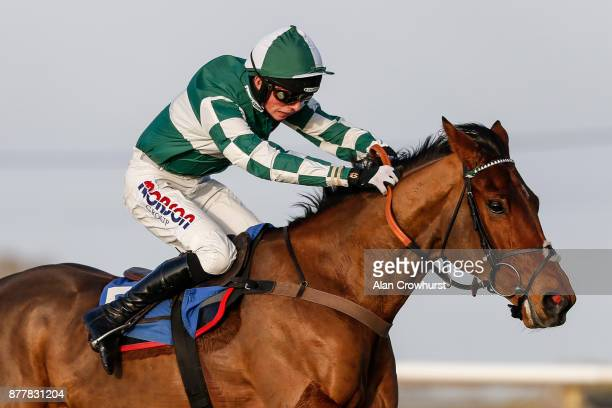 Harry Cobden riding Captain Cattistock clear the last to win The Lenny Roberts memorial Trophy Novicesâ Hurdle Race at Wincanton racecourse on...
