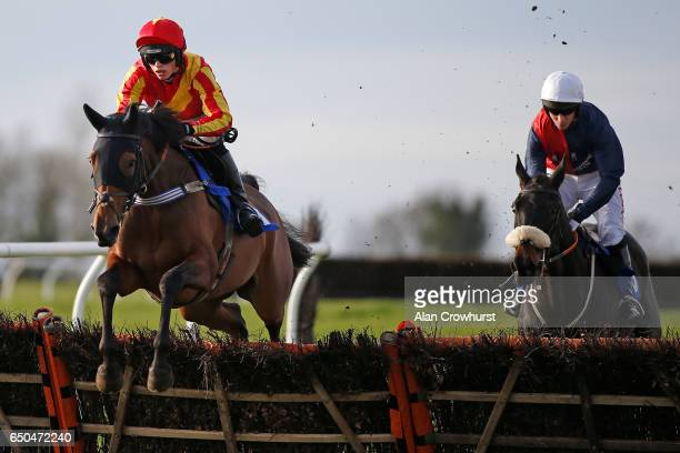 Harry Cobden riding Coole Cody on their way to winning The Batchwick Tyres Poole Miaden Hurdle Race at Wincanton Racecourse on March 9 2017 in...