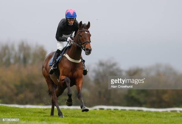 Harry Cobden riding Cue Card gallop before racing at Wincanton racecourse on November 11 2017 in Wincanton United Kingdom