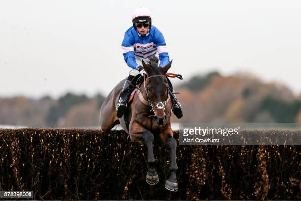 Harry Cobden riding Dolos clear the last to win The Tindle newspapers Beginners' Steeple Chase at Ascot racecourse on November 24 2017 in Ascot...