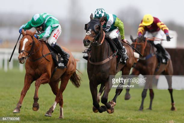 Harry Cobden riding Just A Par clear the last to win The Betway Supporting Greatwood Veterans' Handicap Chase at Newbury Racecourse on March 4 2017...