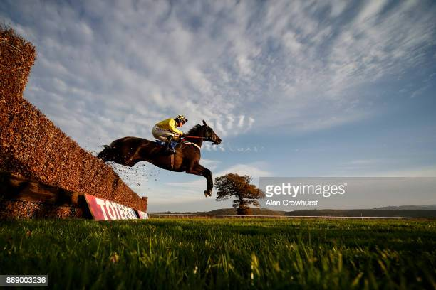 Harry Cobden riding Leg Lock Luke on their way to winning The Collect Totepool Winnings From Betfred Shops handicap Steeple Chase at Taunton...