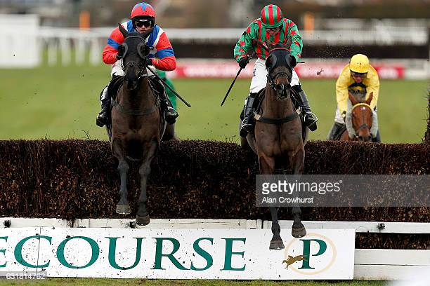 Harry Cobden riding Royal Salute clear the last to win The jasonhallracingcom 'Sharing Success' Handicap Steeple Chase from Henllan Harri at...