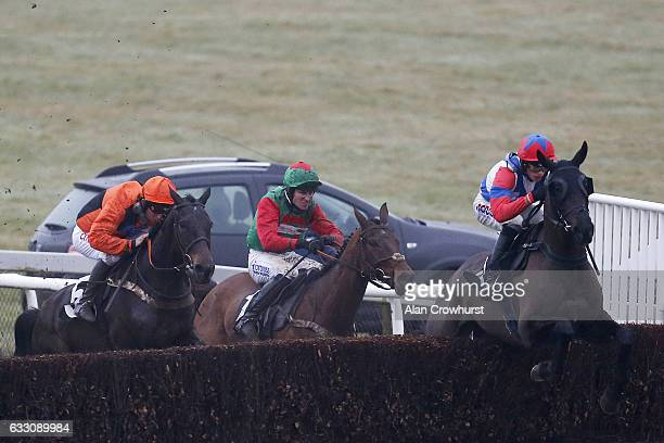 Harry Cobden riding Royal Salute clear the last to win The Strong Flavours Handicap Steeple Chase at Plumpton Racecourse on January 30 2017 in...