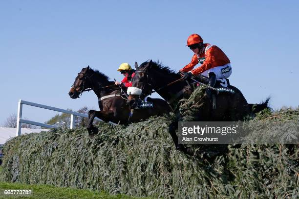 Harry Cobden riding Ultragold clear the last to win The Randox Health Topham Handicap Steeple Chase at Aintree Racecourse on April 7 2017 in...