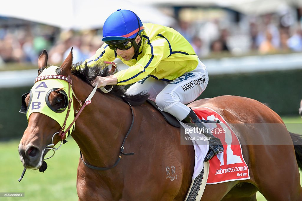Harry Coffey riding Falago wins Race 1 during Melbourne Racing at Caulfield Racecourse on February 13, 2016 in Melbourne, Australia.