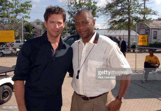 Harry Connick Jr and Branford Marsalis during 38th Annual New Orleans Jazz and Heritage Festival Presented by Shell Backstage at New Orleans Fair...