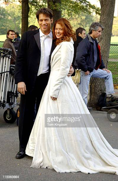Harry Connick Jr and Debra Messing during Will and Grace filming in Central Park in New York City November 5 2002 at Central Park in New York City...