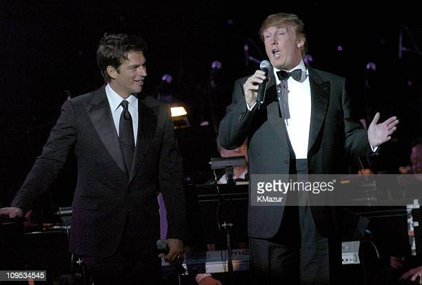 Harry Connick Jr and Donald Trump during Entertainment Industry Foundation's Colon Cancer Benefit on the QM2 Show at Queen Mary 2 in New York City...