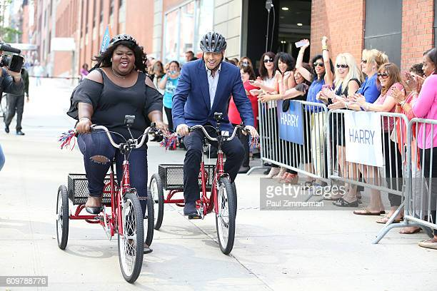Harry Connick Jr and Gabourey Sidibe participate in a tricycle race for 'Harry' show taping September 20 2016 in New York City The show will air...