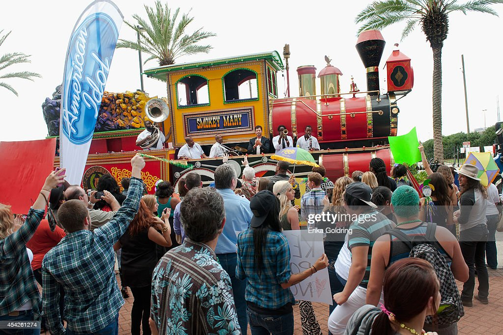 Harry Connick, Jr. arrives at the Ernest N. Morial Convention Center on a Mardi Gras float on August 27, 2014 in New Orleans, Louisiana.