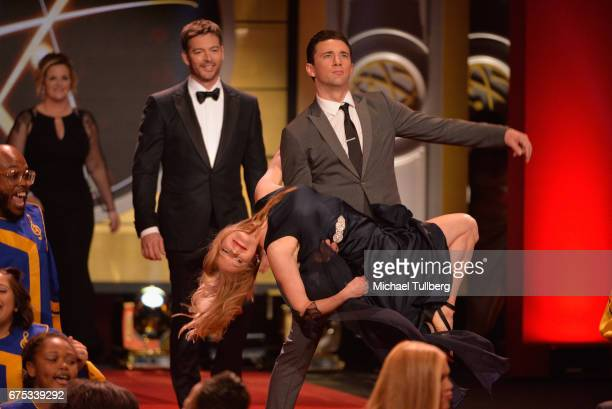 Harry Connick Jr Marci Miller and Billy Flynn perform at the 44th annual Daytime Emmy Awards at Pasadena Civic Auditorium on April 30 2017 in...