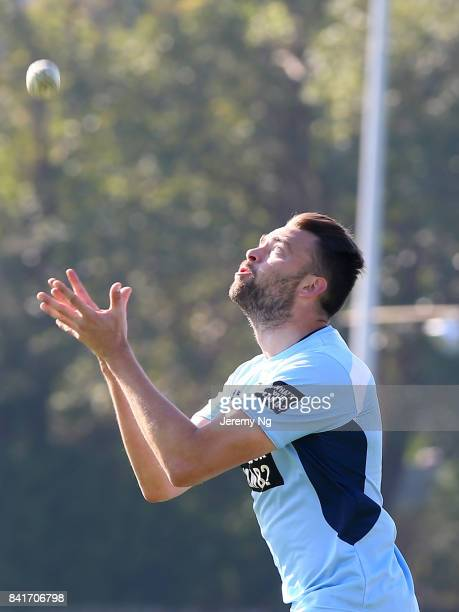 Harry Conway of Cricket NSW takes a catch during the Cricket NSW Intra Squad Match at Hurstville Oval on September 2 2017 in Sydney Australia