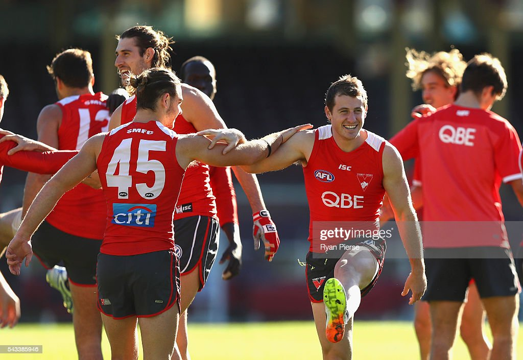 Harry Cunningham of the Swans trains during a Sydney Swans AFL training session at Sydney Cricket Ground on June 28, 2016 in Sydney, Australia.