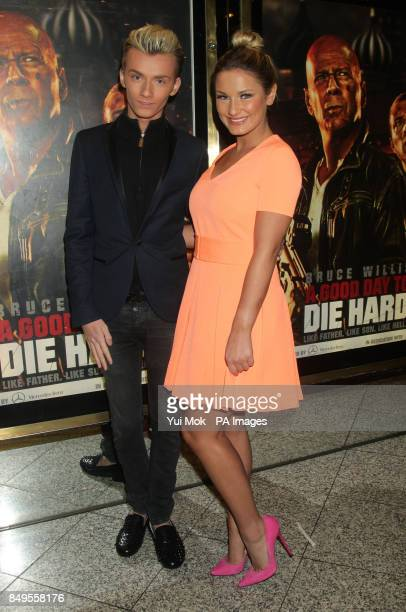Harry Derbidge and Sam Faiers arriving for the UK film premiere of A Good Day To Die Hard at the Empire Leicester Square in central London