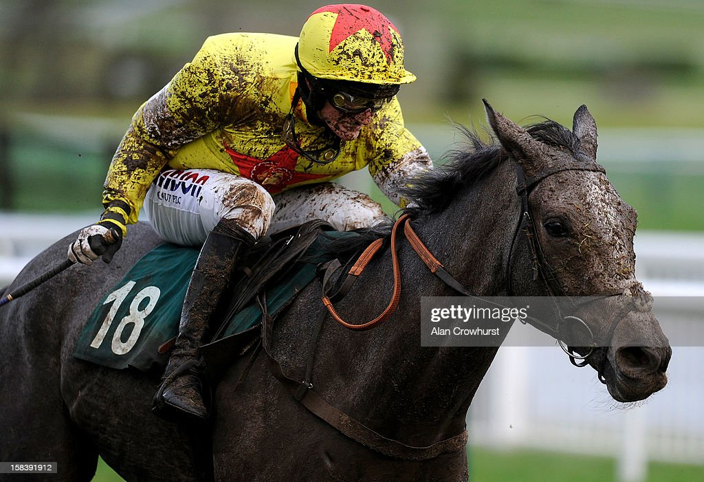 Harry Derham riding Unioniste clear the last to win the Paul Stewart Ironspine Charity Challenge Gold Cup at Cheltenham racecourse on December 15, 2012 in Cheltenham, England.
