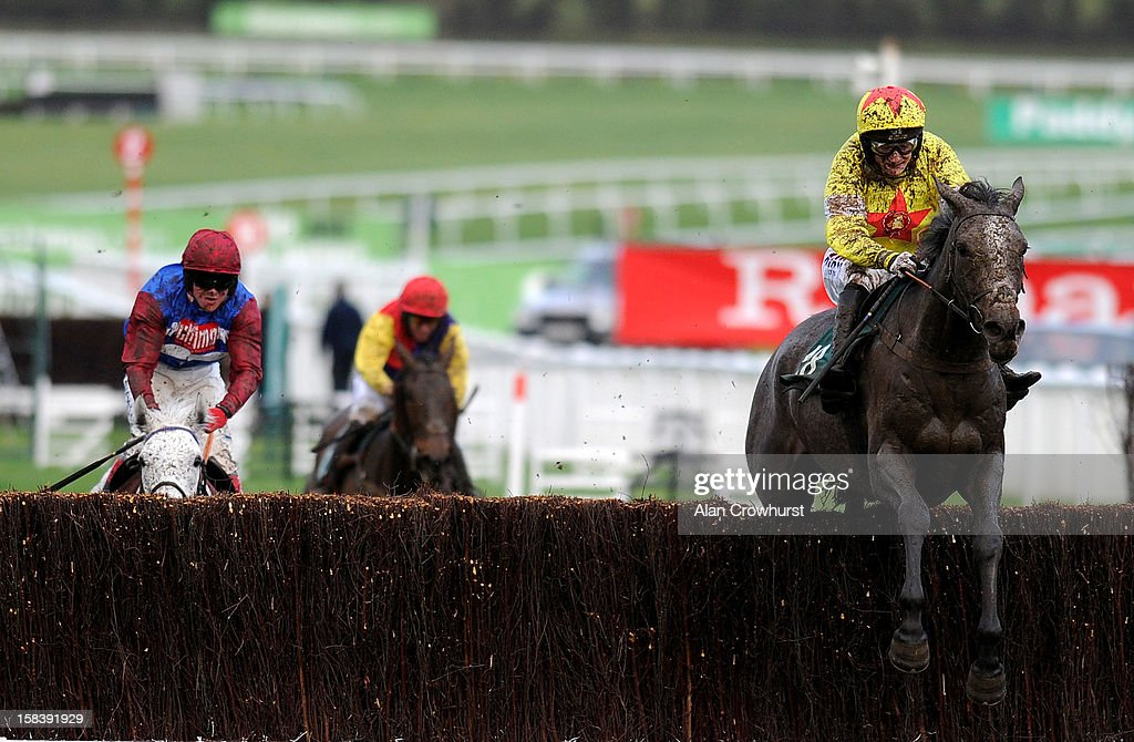 Harry Derham riding Unioniste (R) clear the last to win the Paul Stewart Ironspine Charity Challenge Gold Cup at Cheltenham racecourse on December 15, 2012 in Cheltenham, England.