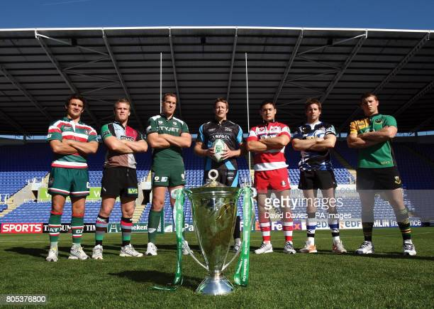 Harry Ellis Will Skinner Bob Casey Dean Schofield Gareth Delve Butch James and Dylan Hartley with the Trophy during the Heineken Cup Launch at the...