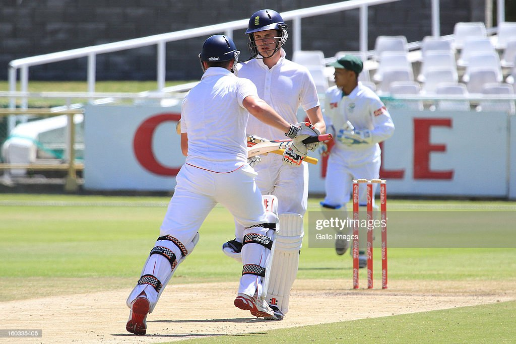 Harry Finch and Dominic Sibley of England during day 3 of the U/19 1st Youth Test match between South Africa and England at Sahara Park Newlands on January 29, 2013 in Cape Town, South Africa
