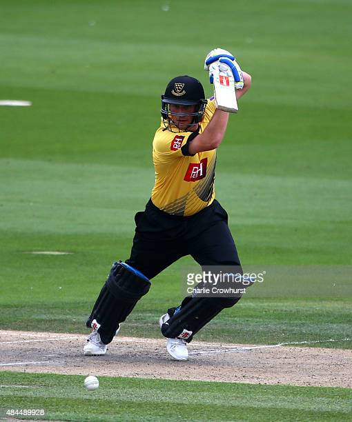 Harry Finch of Sussex hits out during the Royal London OneDay Cup match between Sussex Sharks and Essex Eagles at The BrightonHoveJobcom County...