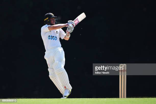 Harry Finch of Sussex hooks for four during a Tour Match between Sussex and South Africa A at Arundel Castle on June 14 2017 in Arundel England