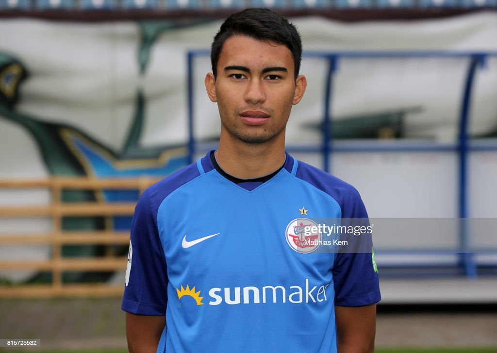 Harry Foell of FC Hansa Rostock poses during the team presentation at Ostseestadion on July 16, 2017 in Rostock, Germany.