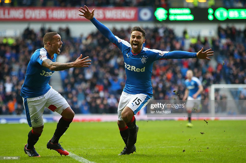 Harry Forrester of Rangers celebrates scoring during the Scottish Championships match between Rangers and St. Mirren at Ibrox Stadium on February 27, 2016 in Greenock, Scotland.