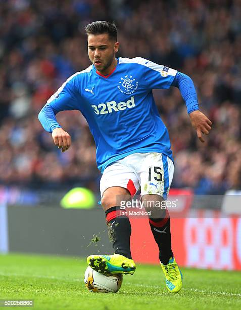 Harry Forrester of Rangers controls the ball during the Petrofac Training Cup Final between Rangers and Peterhead at Hampden Park on April 10 2016 in...