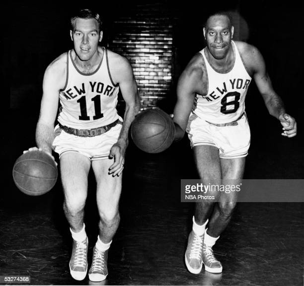 Harry Gallatin and Nathaniel Clifton of the New York Knicks pose for a mock action portrait circa 1950 in New York New York NOTE TO USER User...