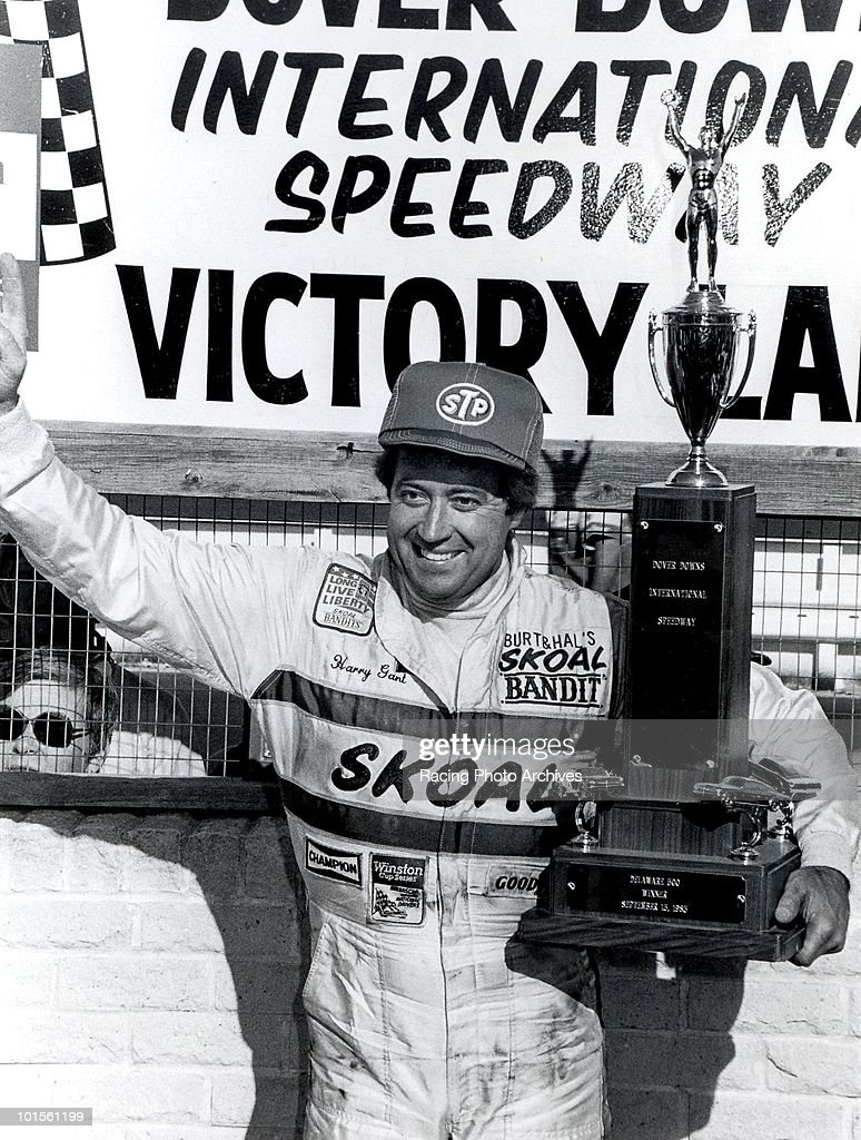 Harry Gant celebrates in Victory Lane after winning the Delaware 500. Gant would take home $44,950 for the race.