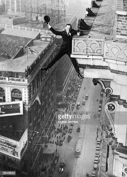 Harry Gardiner of Washington DC hanging from the 24th story of the Hotel McAlpin Broadway New York