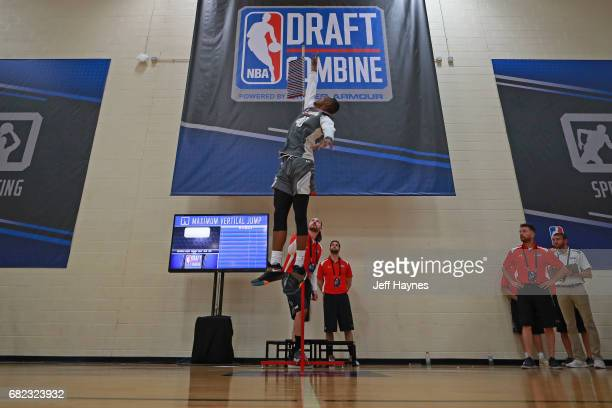 Harry Giles participates in the vertical jump during the NBA Draft Combine at the Quest Multisport Center on May 11 2017 in Chicago Illinois NOTE TO...
