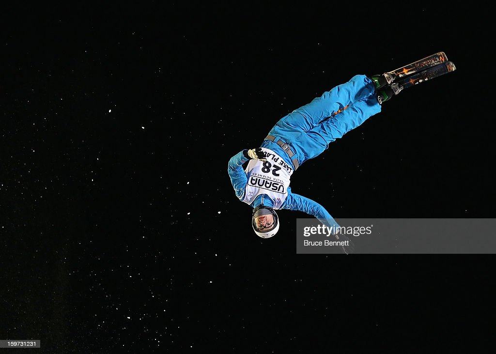 Harry Gillam #28 of Great Britain jumps in the qualification round at the USANA Freestyle World Cup aerial competition at the Lake Placid Olympic Jumping Complex on January 19, 2013 in Lake Placid, New York.