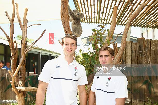 Harry Glover and Ethan Waddleton of England pose with a koala during a Rugby Sevens media opportunity at Taronga Zoo on February 2 2016 in Sydney...