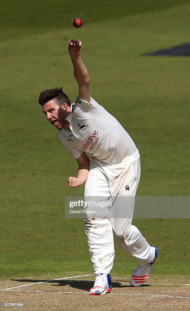 <a gi-track='captionPersonalityLinkClicked' href=/galleries/search?phrase=Harry+Gurney&family=editorial&specificpeople=5946374 ng-click='$event.stopPropagation()'>Harry Gurney</a> of Nottinghamshire bowls during the Specsavers County Championship division one match between Nottinghamshire and Yorkshire at the Trent Bridge on May 3, 2016 in Nottingham, England.