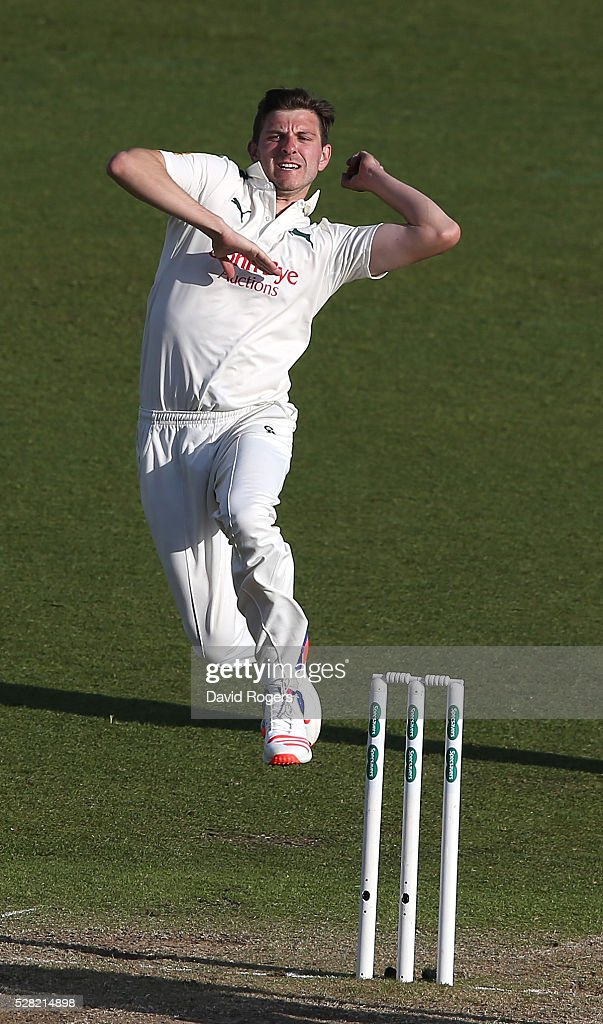 <a gi-track='captionPersonalityLinkClicked' href=/galleries/search?phrase=Harry+Gurney&family=editorial&specificpeople=5946374 ng-click='$event.stopPropagation()'>Harry Gurney</a> of Nottinghamshire bowls during the Specsavers County Championship division one match between Nottinghamshire and Yorkshire at Trent Bridge on May 4, 2016 in Nottingham, England.