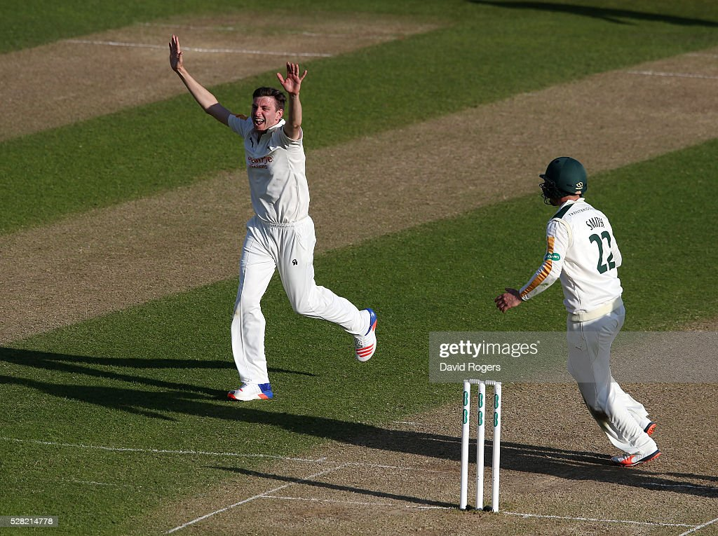 <a gi-track='captionPersonalityLinkClicked' href=/galleries/search?phrase=Harry+Gurney&family=editorial&specificpeople=5946374 ng-click='$event.stopPropagation()'>Harry Gurney</a> of Nottinghamshire celebrates after taking the wicket of David Willey during the Specsavers County Championship division one match between Nottinghamshire and Yorkshire at Trent Bridge on May 4, 2016 in Nottingham, England.