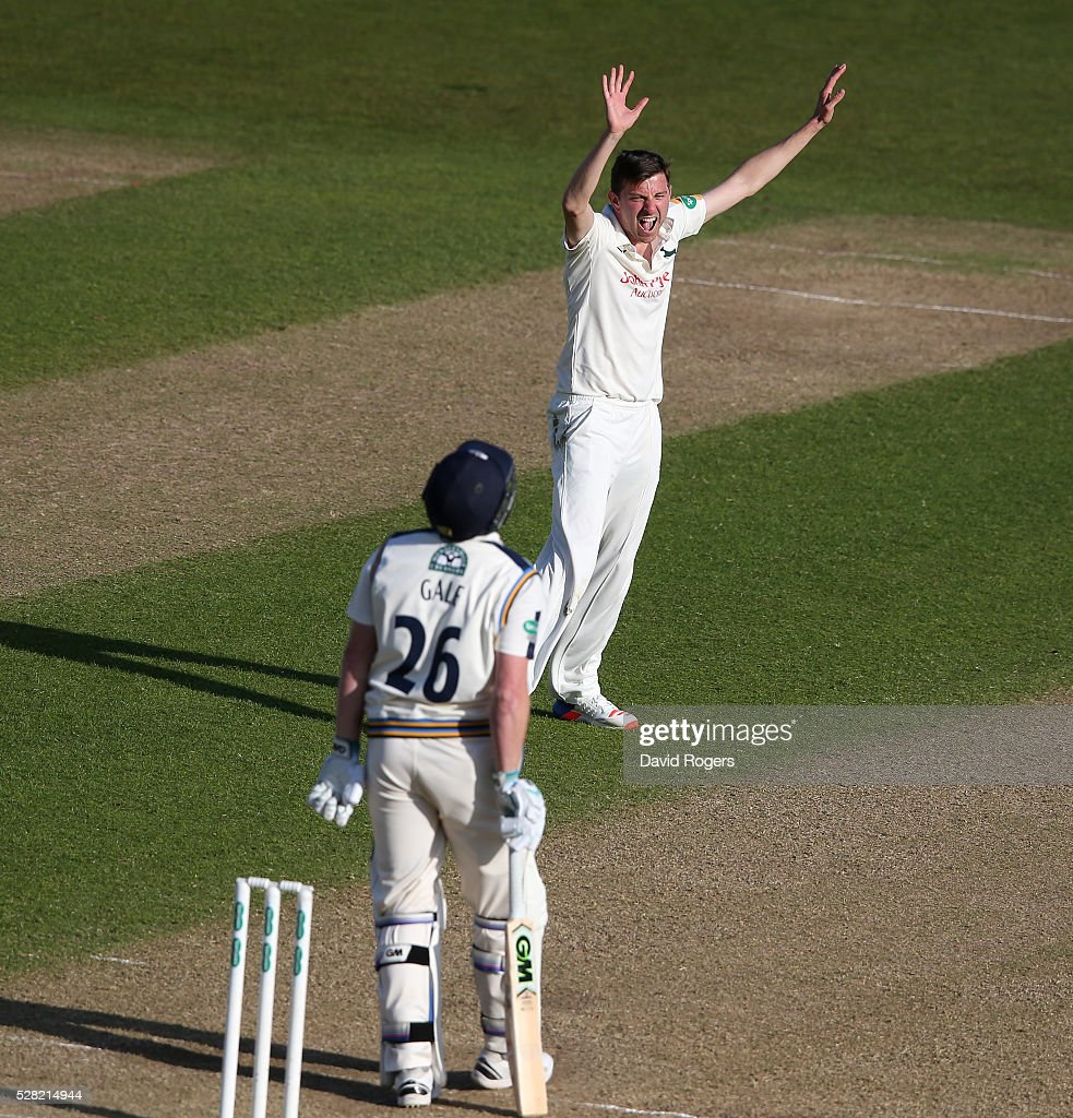 <a gi-track='captionPersonalityLinkClicked' href=/galleries/search?phrase=Harry+Gurney&family=editorial&specificpeople=5946374 ng-click='$event.stopPropagation()'>Harry Gurney</a> of Nottinghamshire celebrates after taking the wicket of Andrew Gale during the Specsavers County Championship division one match between Nottinghamshire and Yorkshire at Trent Bridge on May 4, 2016 in Nottingham, England.