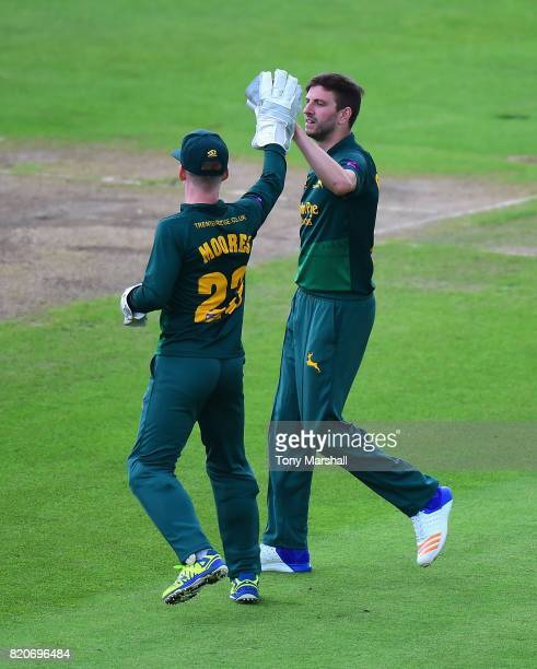 Harry Gurney of Nottinghamshire Outlaws celebrates taking the wicket of Alex Wakely of Northamptonshire Steelbacks during the NatWest T20 Blast...
