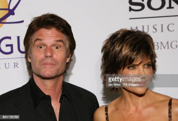 Harry Hamlin and Lisa Rinna arrive at the Carl Davis PreGrammy party at the Beverley Hilton Hotel Los Angeles