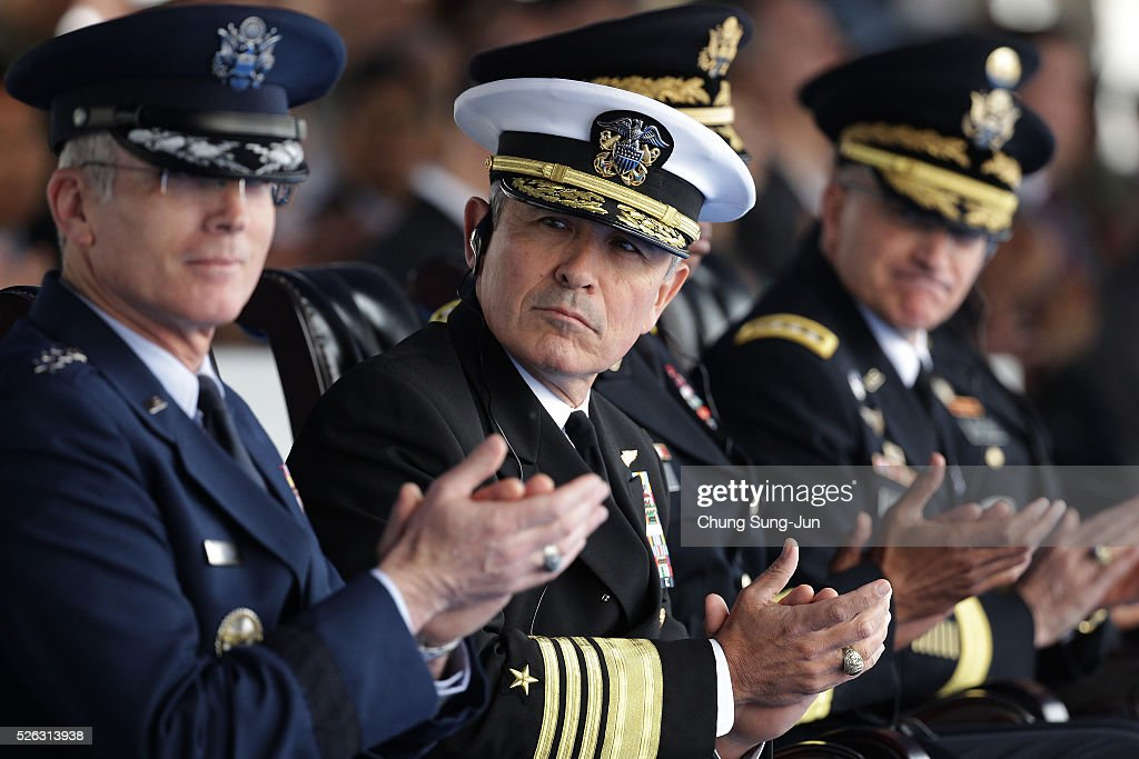 Harry Harris, commander of United States Pacific Command attends during a change-of-command ceremony at the Yonsan U.S. army base on April 30, 2016 in Seoul, South Korea. Brooks will succeed Gen. Curtis Scaparrotti, who had led 28,500 U.S. troops stationed in South Korea.