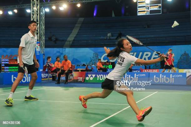 Harry Huang and Pamela Reyes of England compete against Andrews Ebenezer and Eyram Yaa Migbodzi of Ghana during Mixed Double qualification round of...