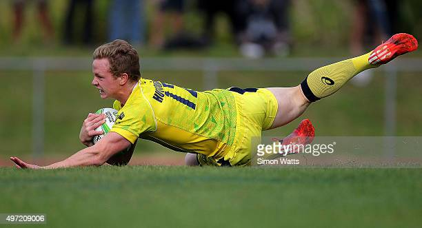 Harry Hutchison of Austraila scores a try during the World Sevens Oceania Olympic Qualification Final between Australia and Tonga on November 15 2015...