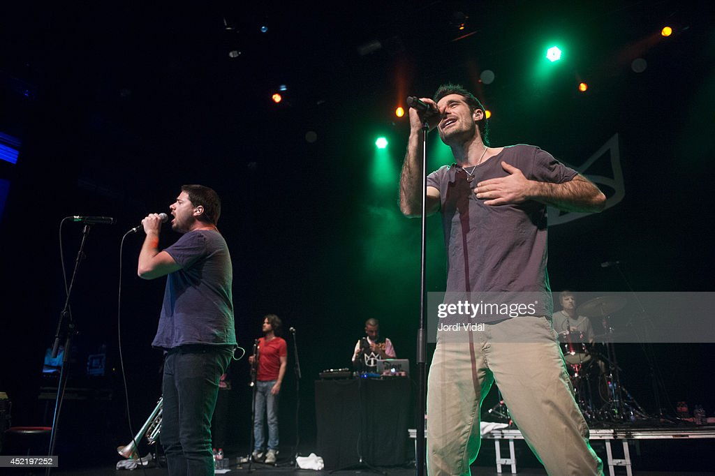 Harry James Angus and Felix Riebl of The Cat Empire perform on stage at Barts on July 15, 2014 in Barcelona, Spain.