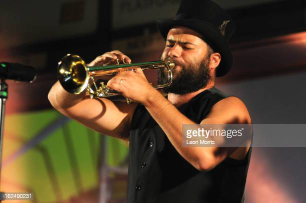 Harry James Angus from the Cat Empire during Melbourne's White Night Festival on February 24 2013 in Melbourne Australia Melbourne's CBD was...